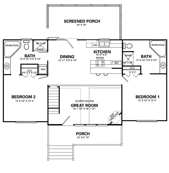 Home design living room four bedroom house plans for Four room house plan
